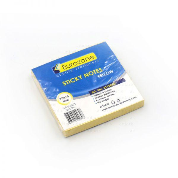 Sticky notes 75x75mm sarı 100v yapışqanlı