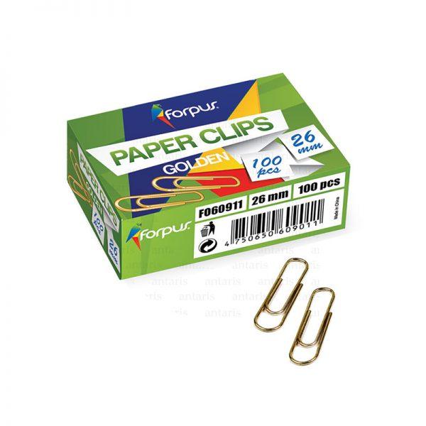 Skrepka metal N3 26mm 1x100 qızılı Forpus