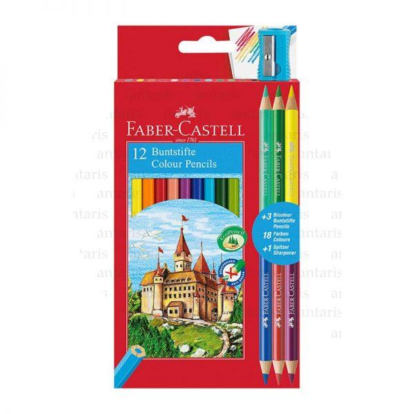 Karandaş 12rəng + qələm yonan Faber-Castell