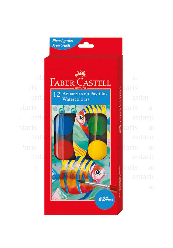 Akvarel boya 12rəng + fırça Faber-Castell (30mm)