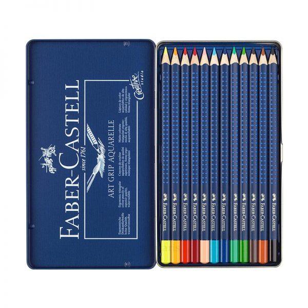 Karandaş 12rəng akvarel metal qutu Faber-Castell