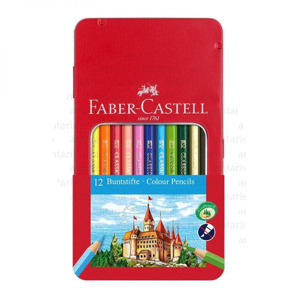 Karandaş 12rəng metal qutu Faber-Castell
