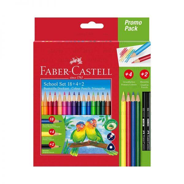 Karandaş 18 rəng 4+2 promo Faber-Castell